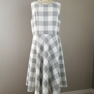 Talbots Black/White Dress Plaid Dress Size:12